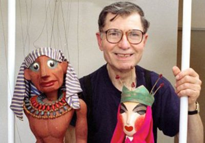 Frank Ballard with puppets, created by Bil Baird and Sergei Obratsov. Part of the museum's diverse collection. Photograph by Fran Funk